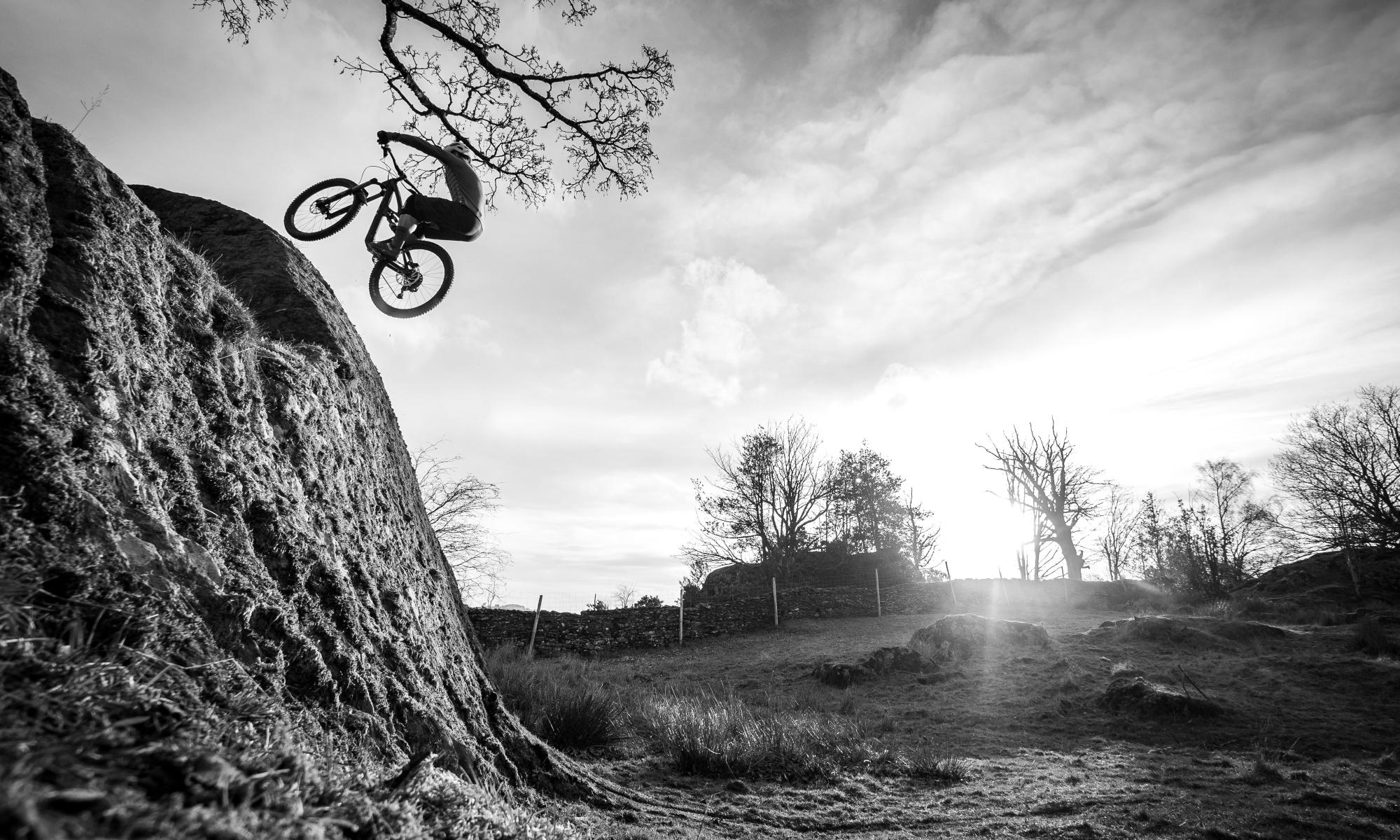 mountain biker rock slab